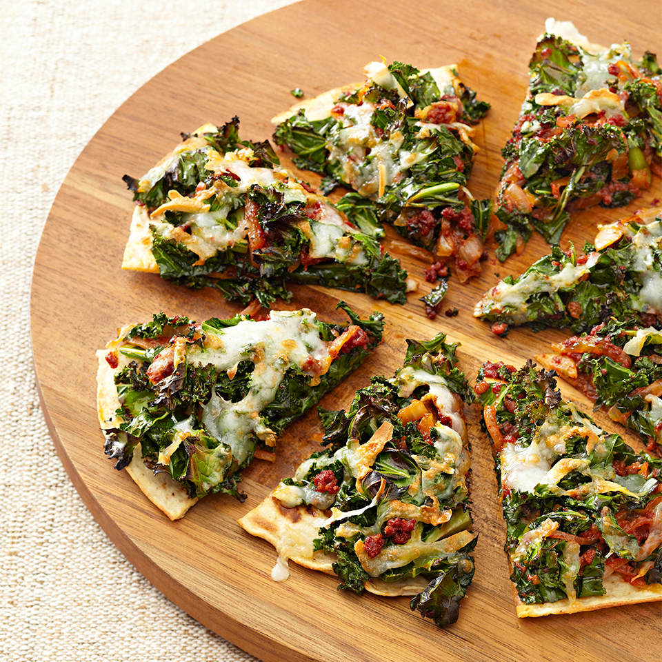 Chorizo and Kale Flatbread Wedges