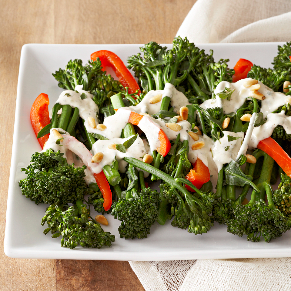 Broccolini with Herbed Cream Sauce and Pine Nuts