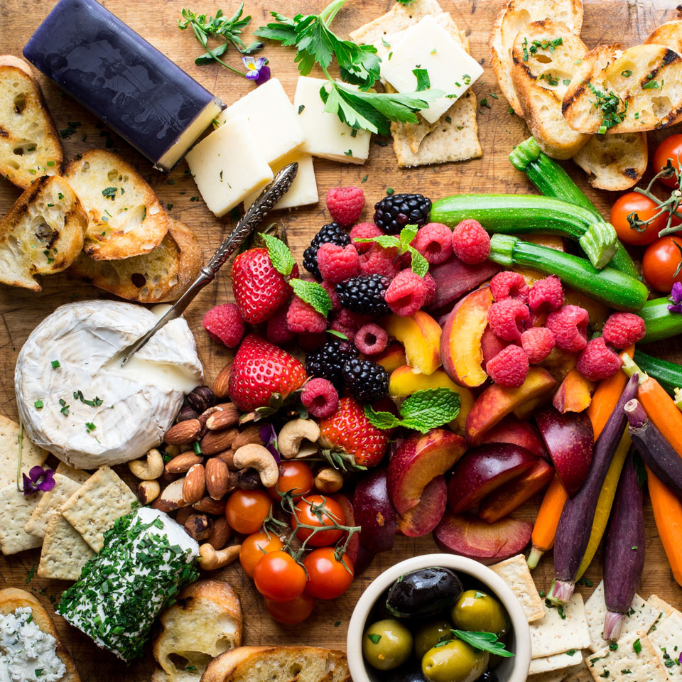 Cheese board with herbs