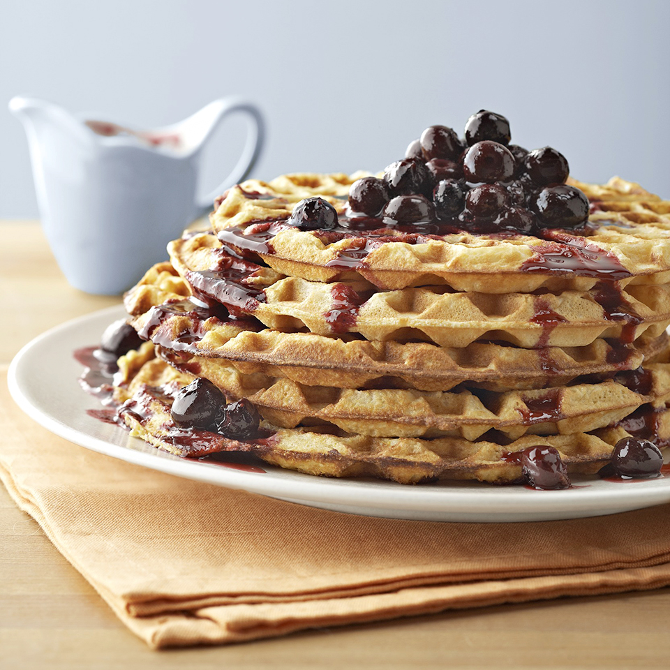 Cornmeal Waffles with Blueberry Compote