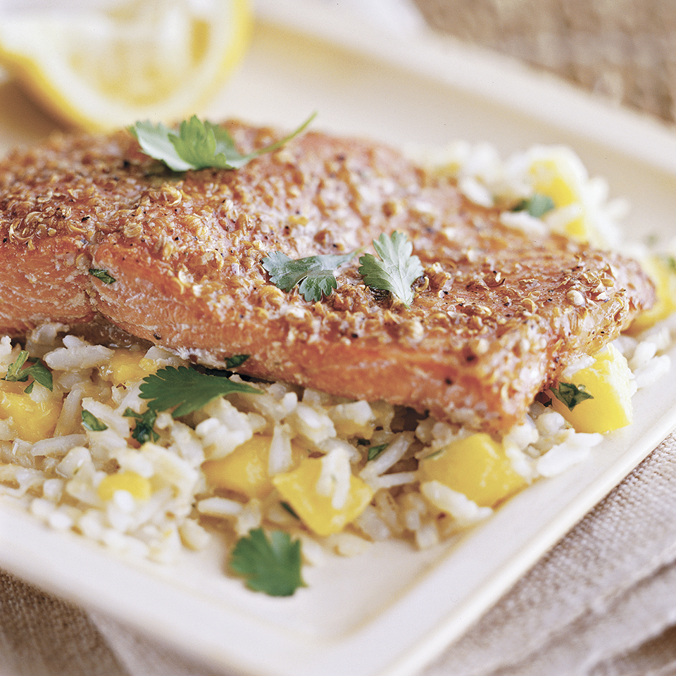 Spice-Rubbed Salmon with Tropical Rice