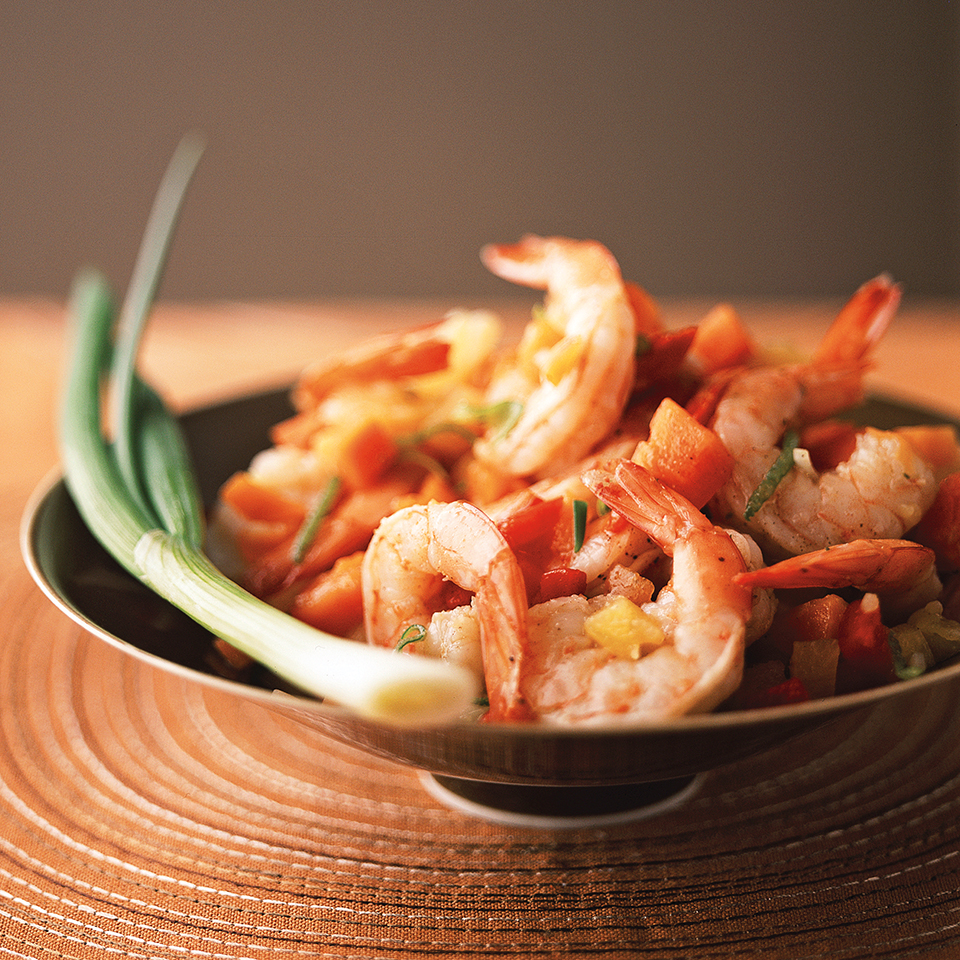 Jamaican Jerk Shrimp with Papaya and Pineapple