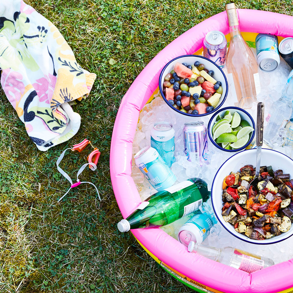 Chill drinks and food in kiddie pool