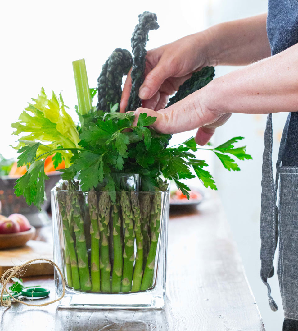 Add height and structure to your edible bouquet with kale and celery