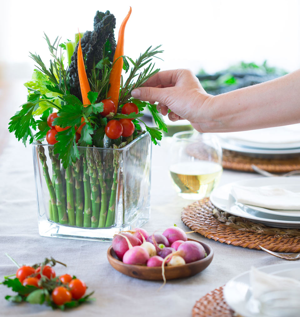 Accent the edible table arrangement with fresh rosemary