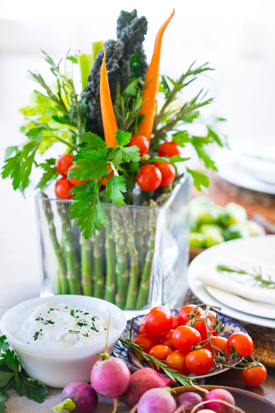 Decorate the tablescape with more vegetables and your favorite dip