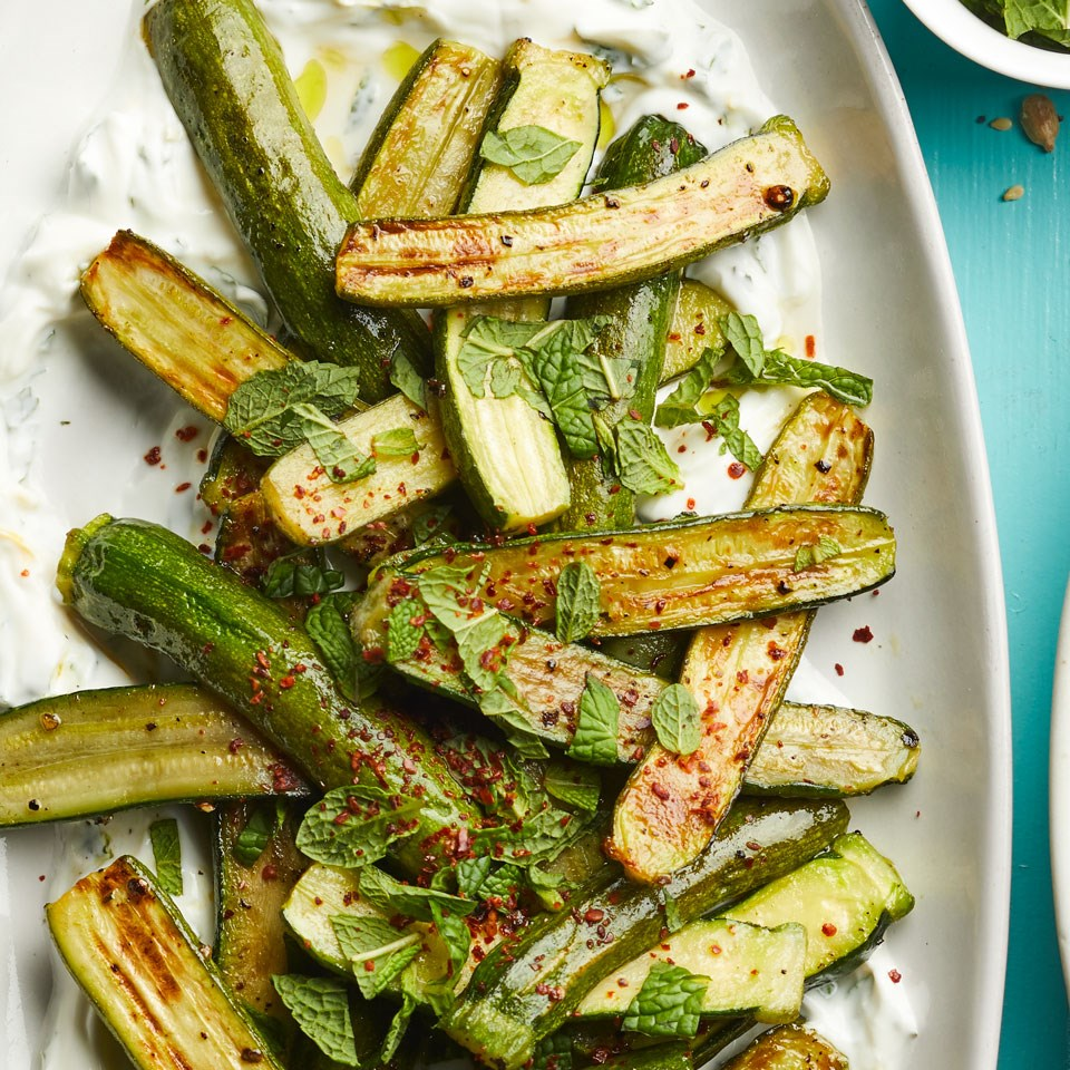 Roasted Baby Zucchini with Lemon Labneh