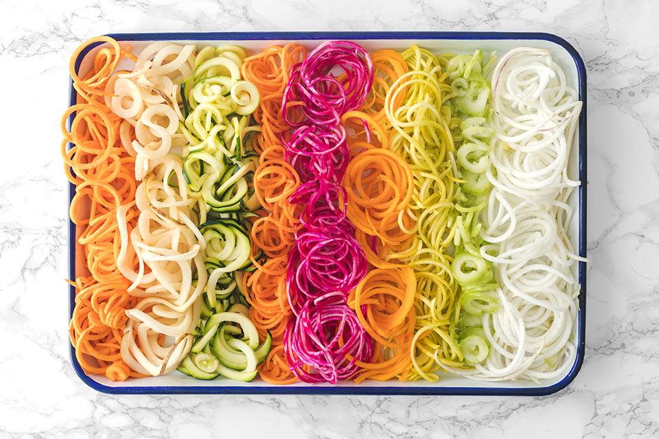 spiralized vegetables on a platter