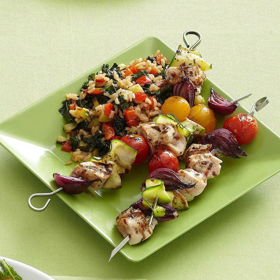 Spicy Chicken Kabobs with Vegetable Rice