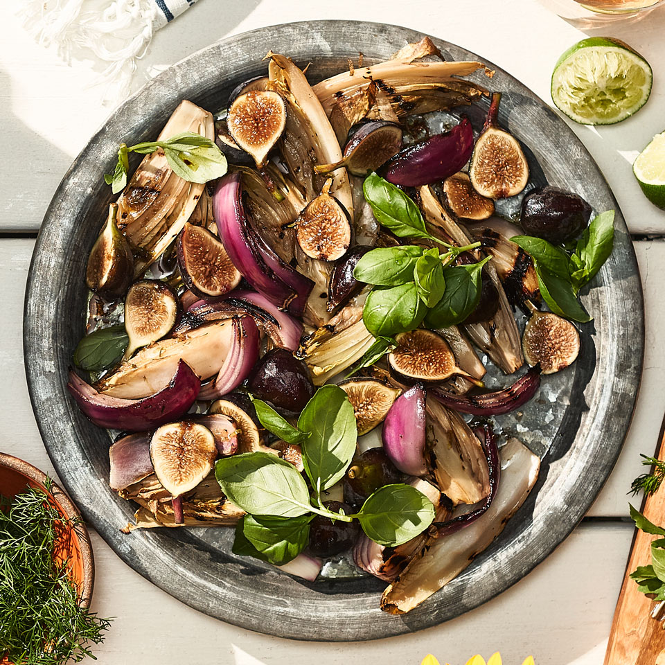 Grilled Endive & Red Onion with Fresh Figs