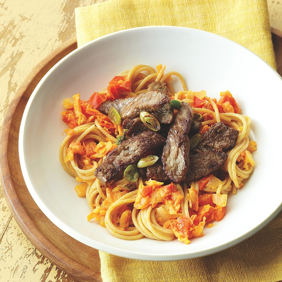 Beef and Red Pepper Angel Hair Pasta
