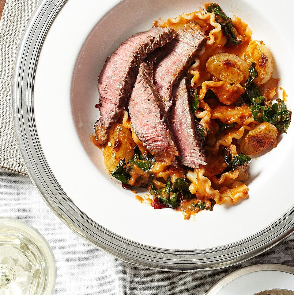 Beef and Swiss Chard Mafalda with Roasted Red Pepper and Eggplant Sauce
