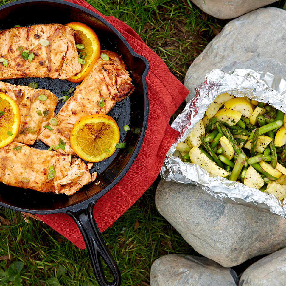 Skillet-Roasted Citrus Salmon with Grilled Vegetables