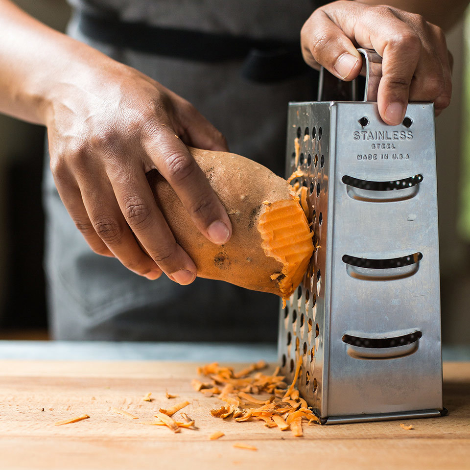 Shredding sweet potatoes