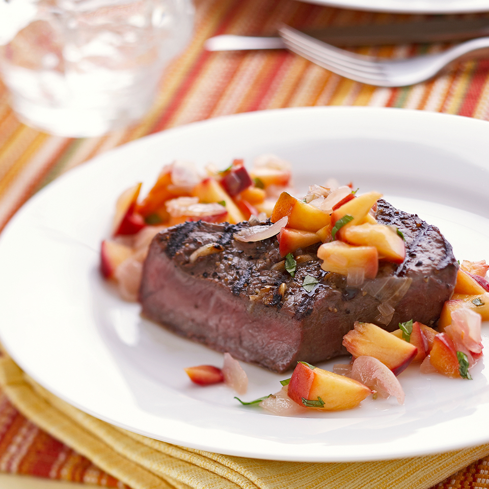 Garlic Steaks with Nectarine Relish