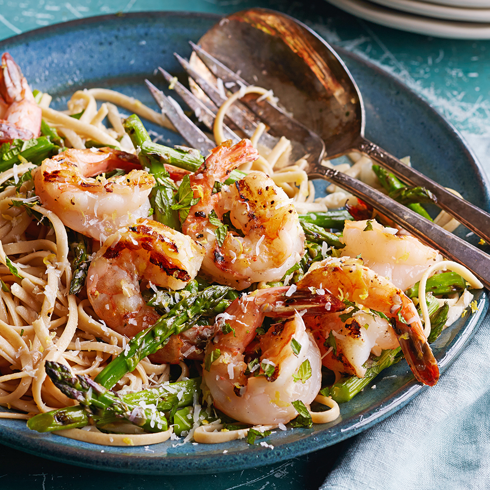 Grilled Asparagus & Shrimp with Pasta