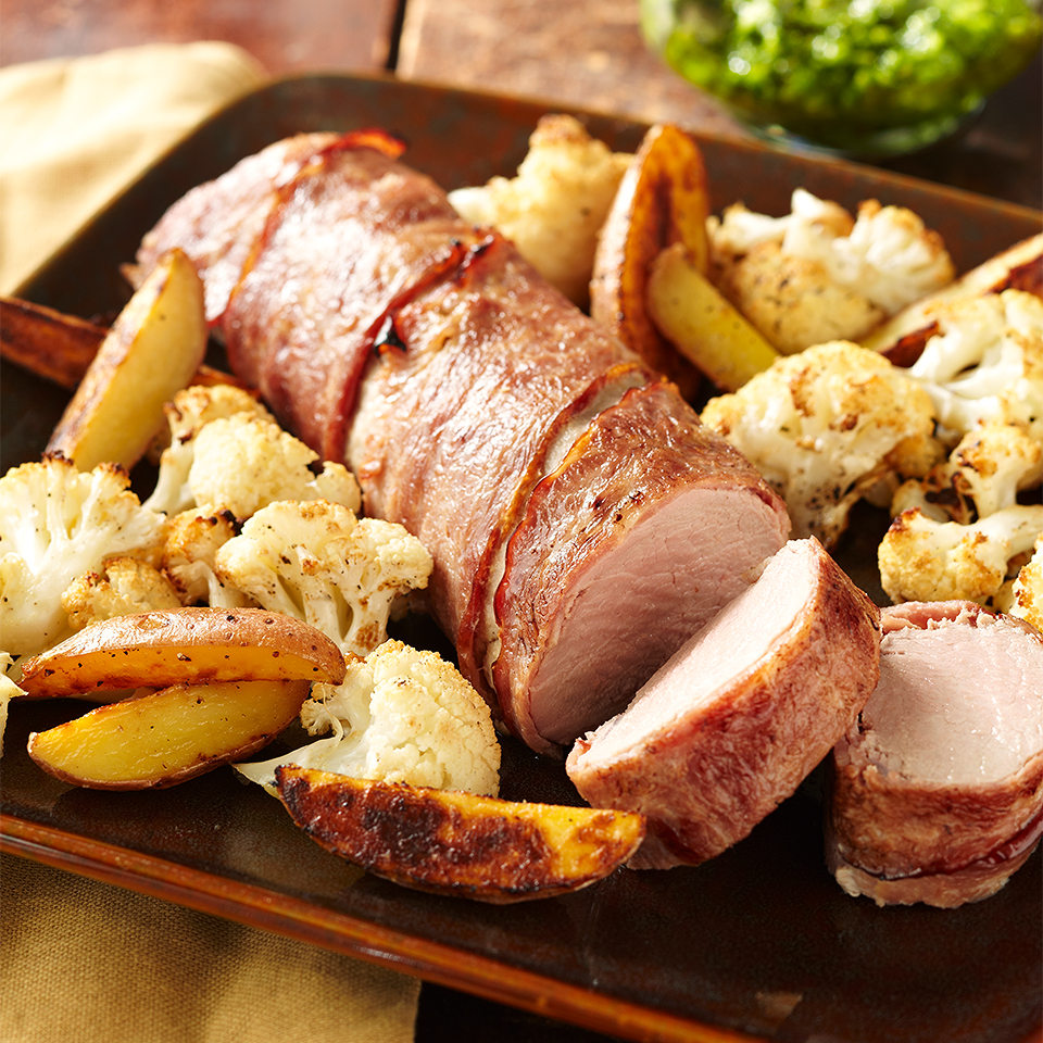 Bacon-Wrapped Pork Tenderloin and Roasted Vegetables