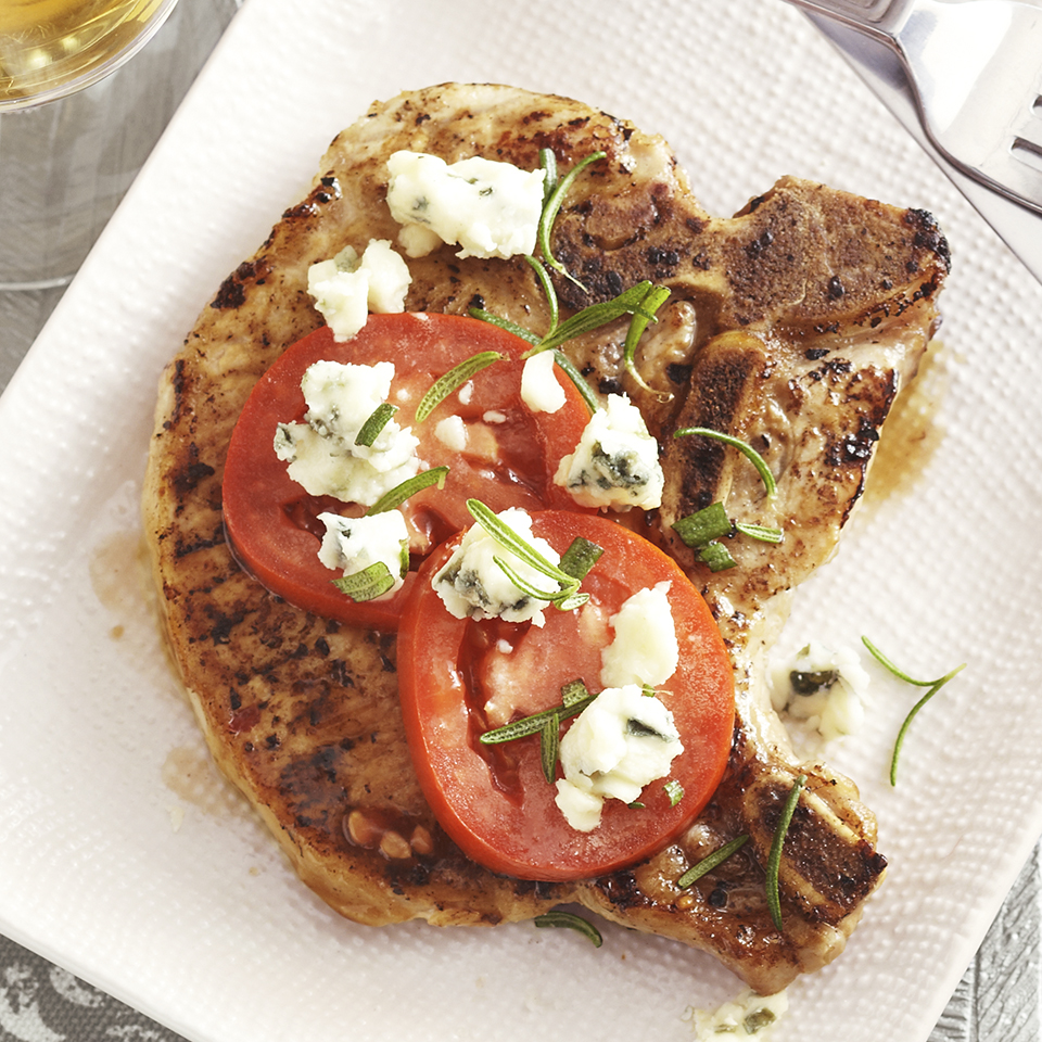 Blue Cheese-Topped Pork Chops