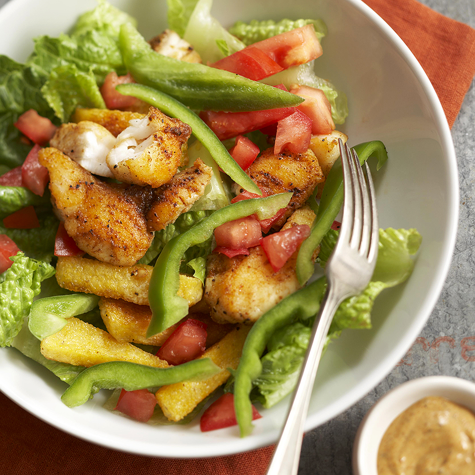 Cajun Catfish Salad with Crispy Polenta