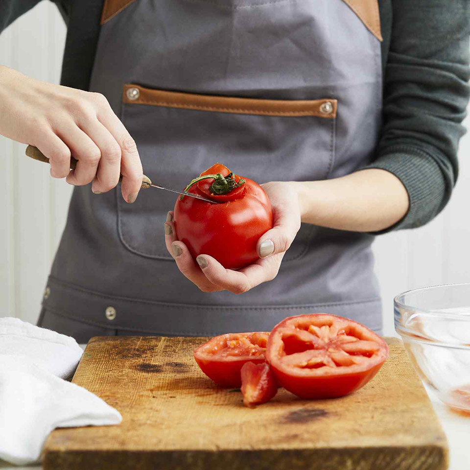 step 1 stem the tomatoes
