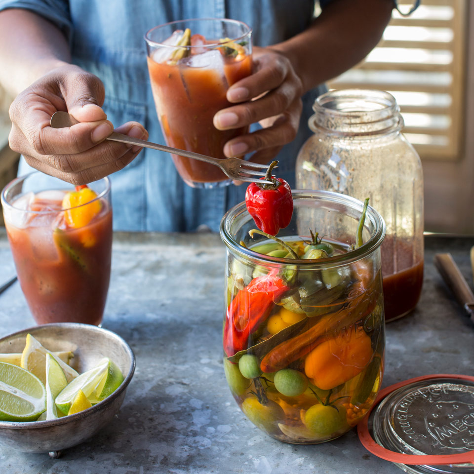 pickled hot peppers in a jar