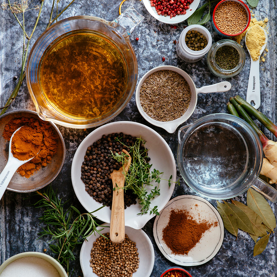 Pickling spices in bowls