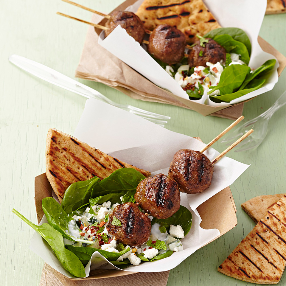 Greek Meatball Kabobs with Grilled Pita