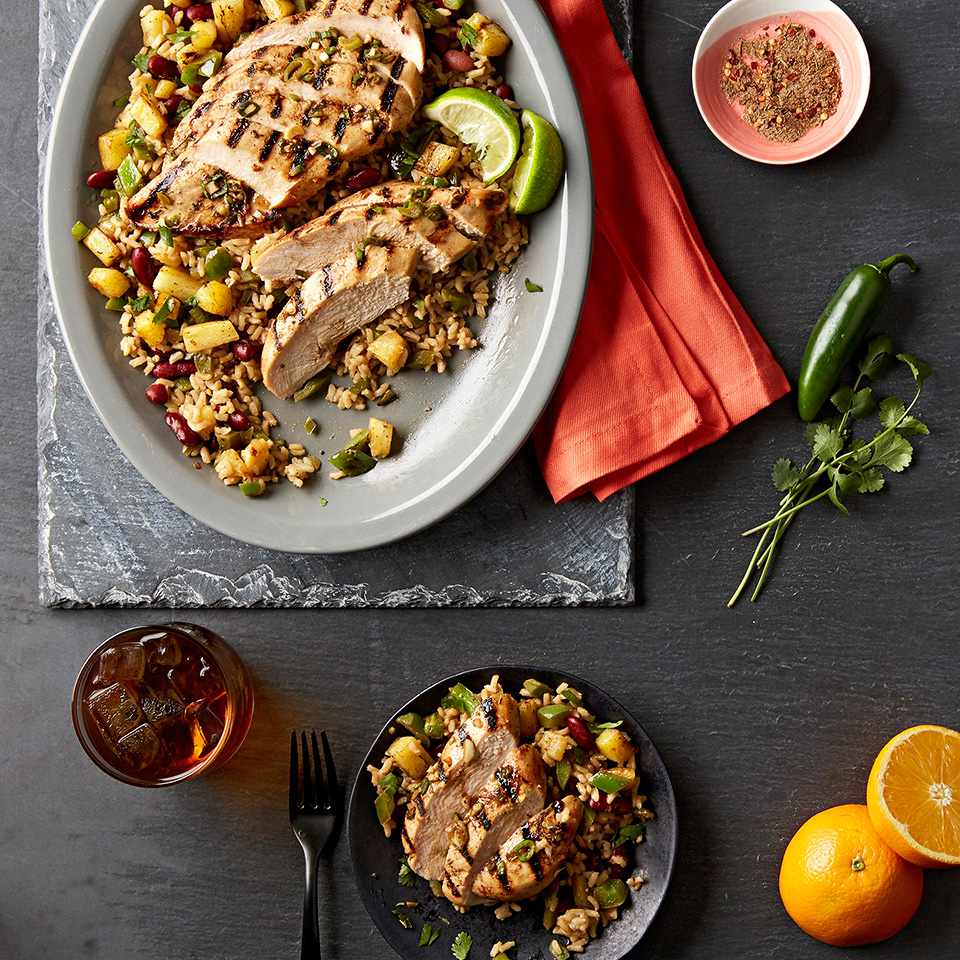 Jerk Marinated Chicken with Caribbean Rice