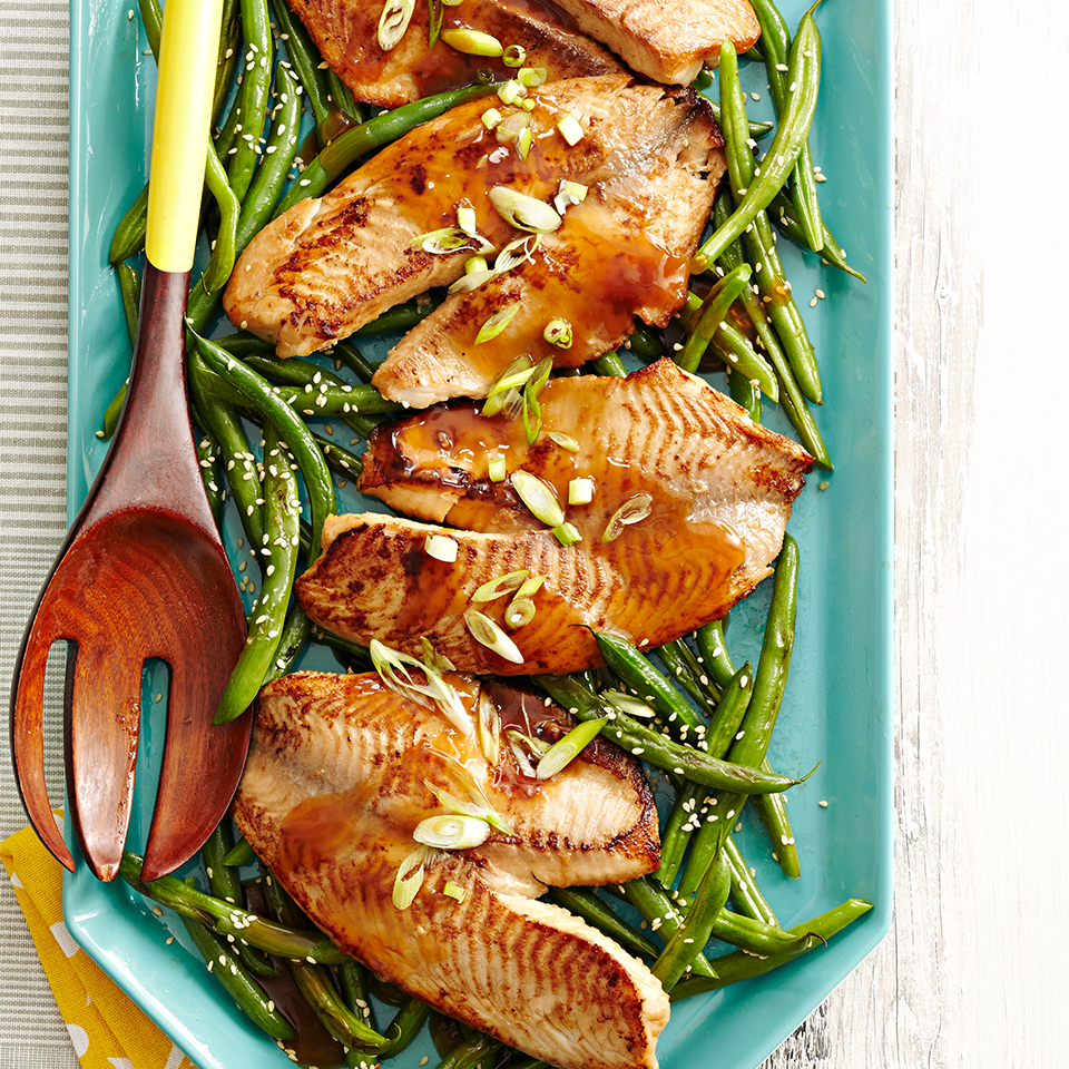 Asian Tilapia with Stir-Fried Green Beans