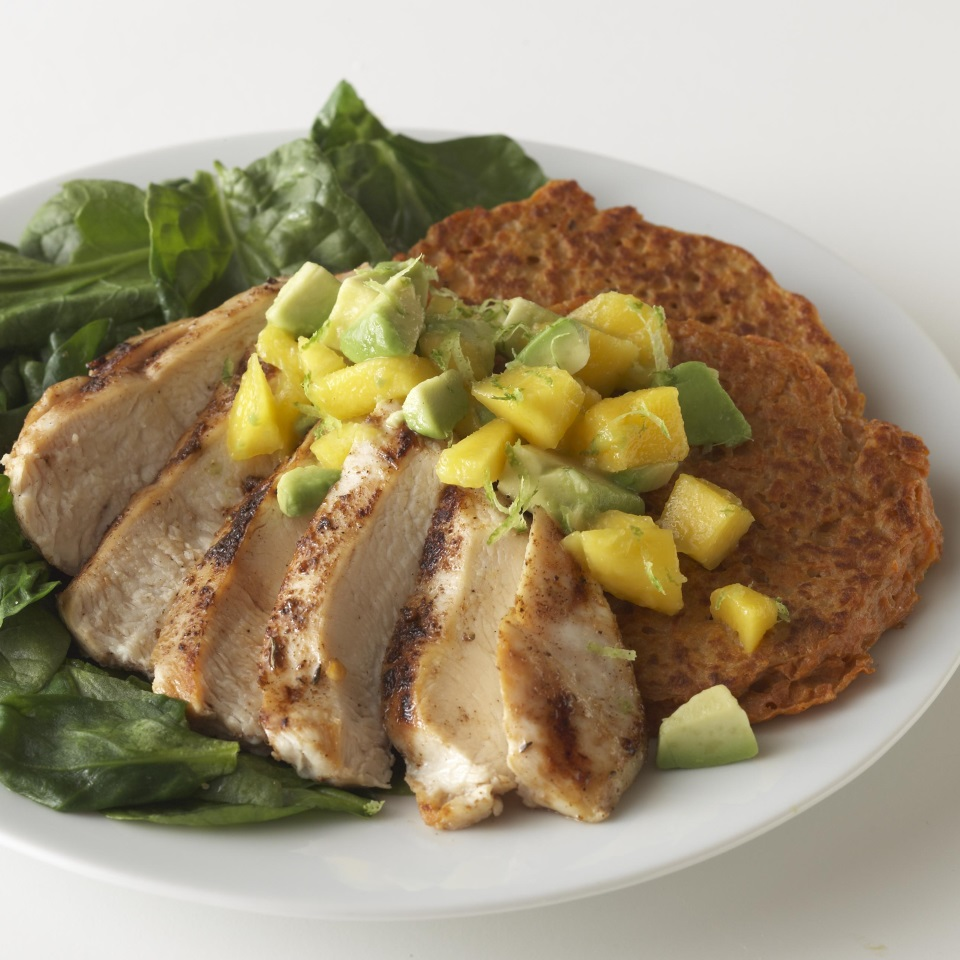 Caribbean Chicken with Sweet Potato Pancakes & Avocado-Mango Salsa