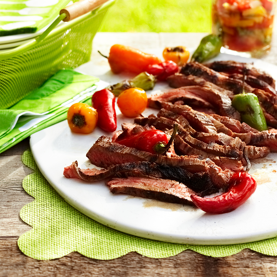 Garlic-Lime Skirt Steak with Charred Sweet Peppers & Grilled Tomato-Pepper Chutney