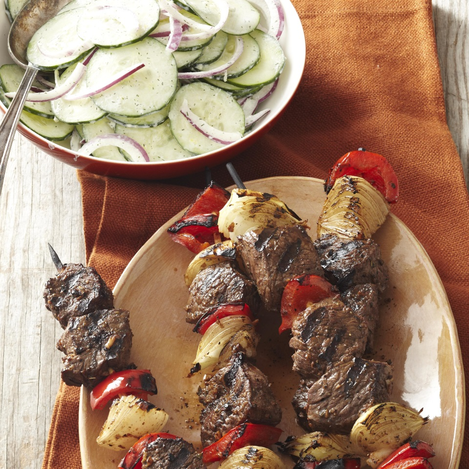 Greek Beef Kebabs with Cucumber Salad
