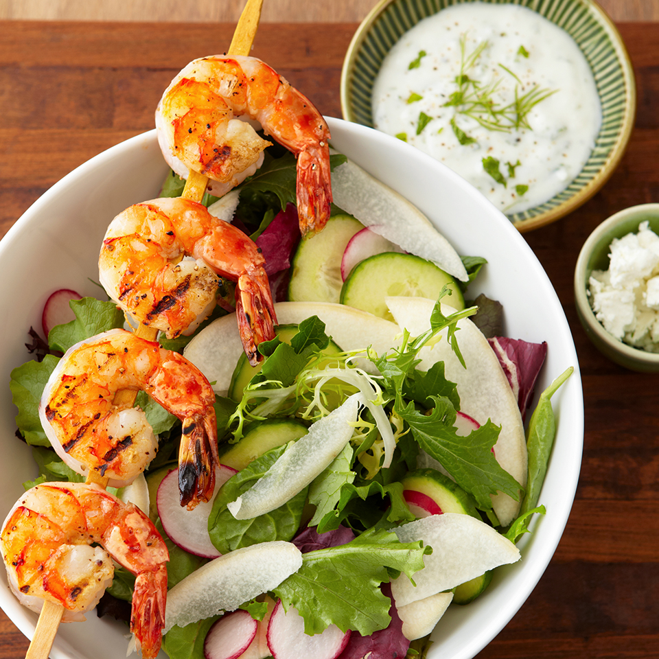 Grilled Shrimp Salad with Creamy Garlic Dressing