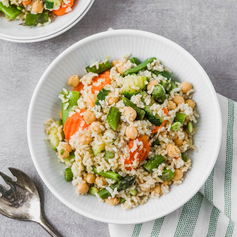 Easy Brown Rice Pilaf with Spring Vegetables