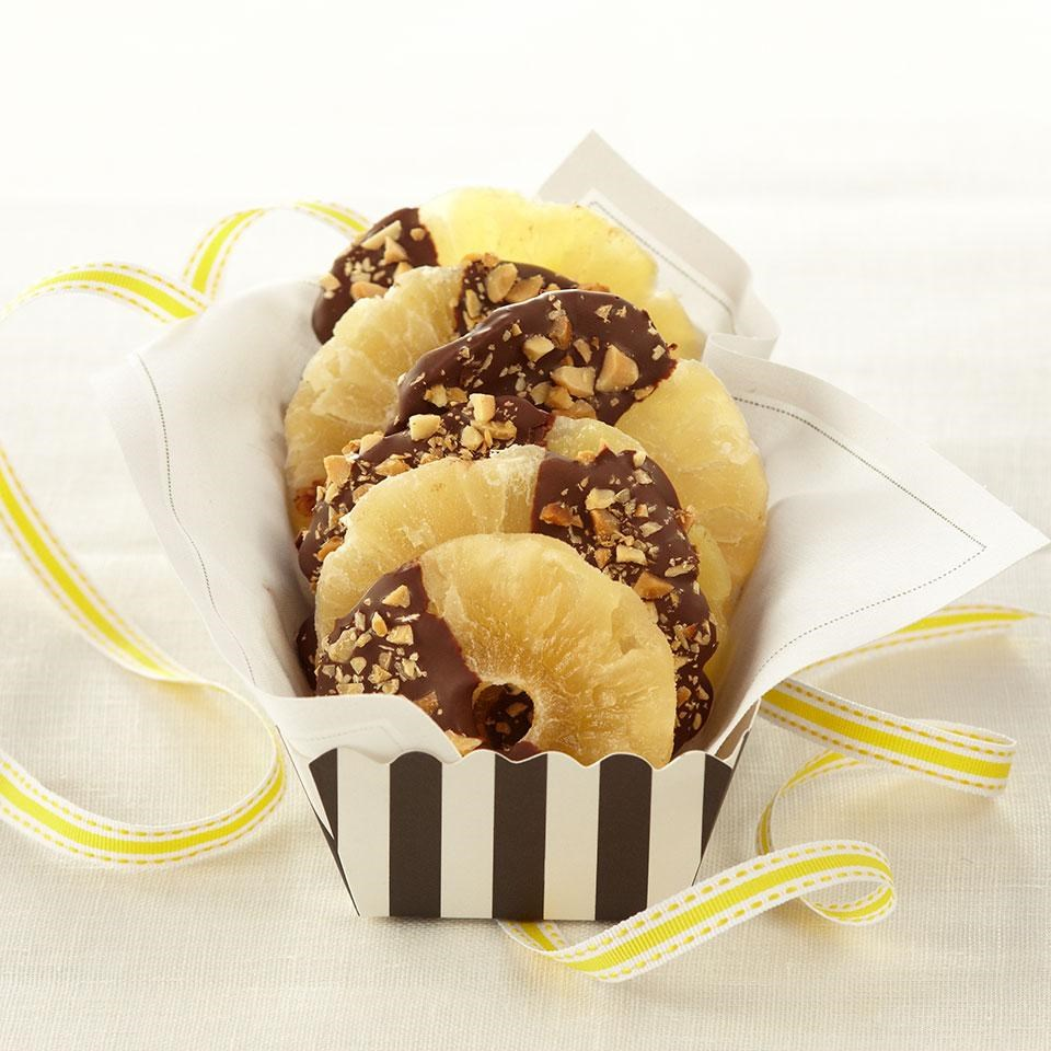 Chocolate-Dipped Pineapple Rings