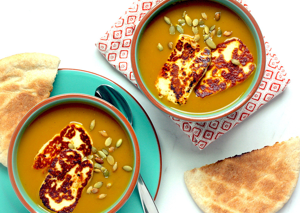 Butternut squash soup with halloumi