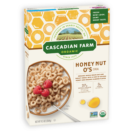 Cascadian Farm Organic Honey Nut O's box of cereal