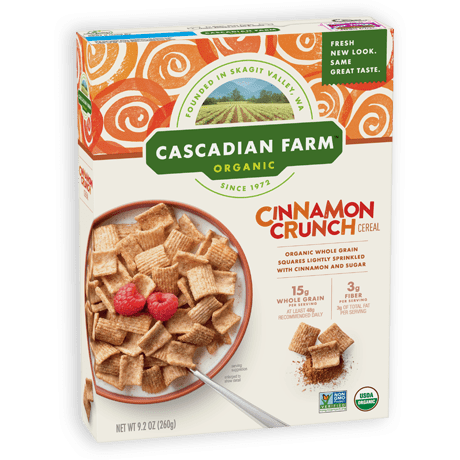 Cascadian Farm Organic Cinnamon Crunch box of cereal