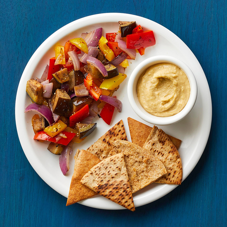 dinner 3 mediterranean vegetables pita hummus