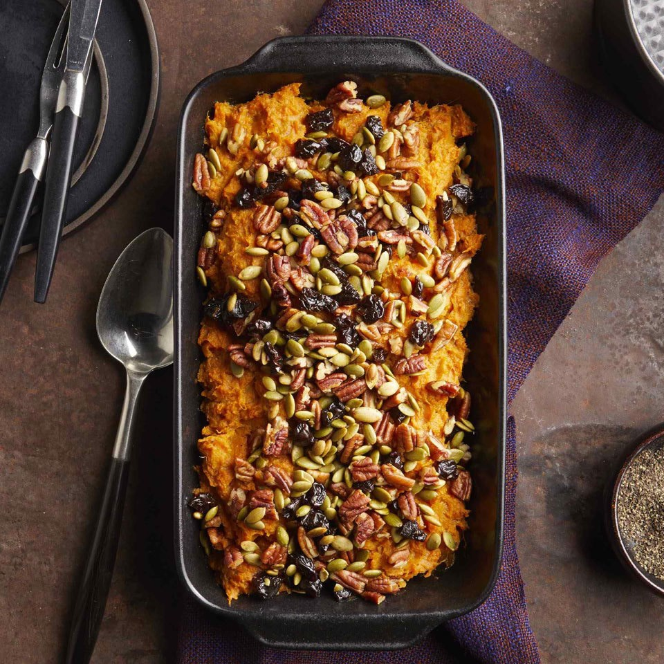 no sugar-added sweet potato casserole in baking dish on table