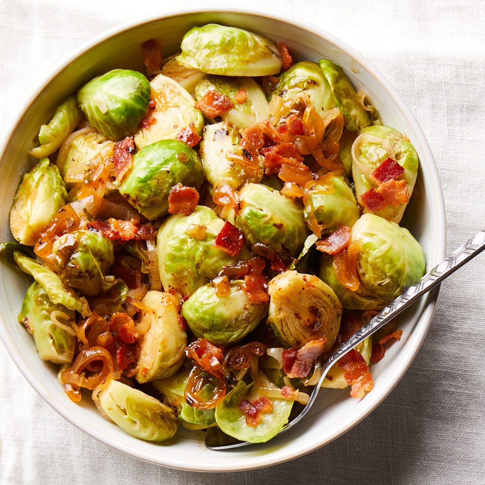 Cider-Braised Brussels Sprouts with Bacon