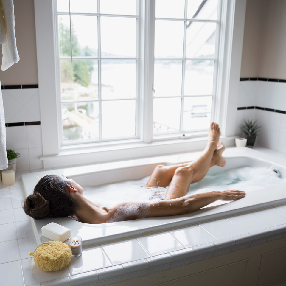 woman in bath tub