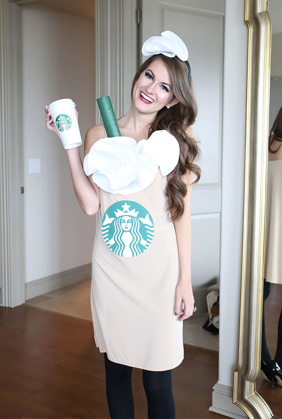 woman dressed as a starbucks cup