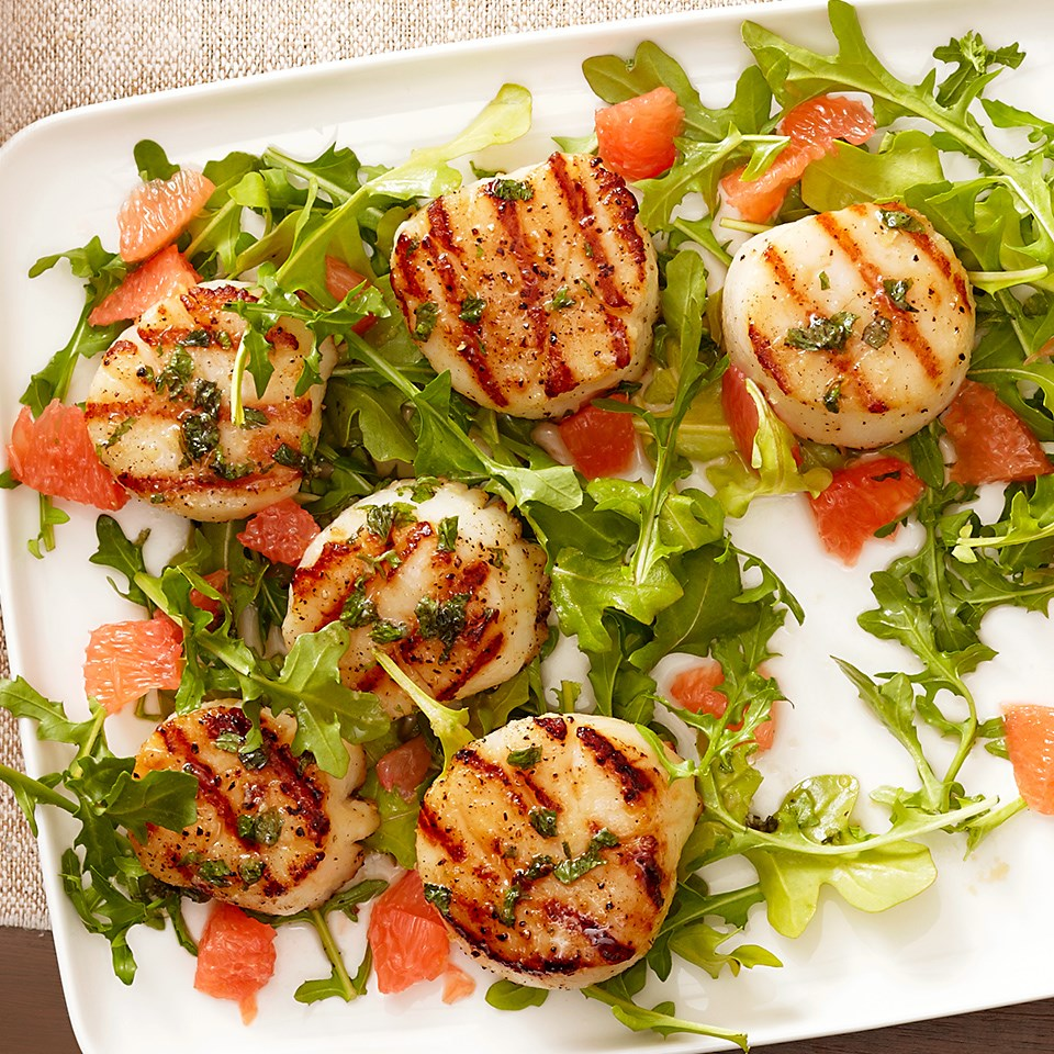 Skewered Scallops with Honey-Grapefruit Drizzle