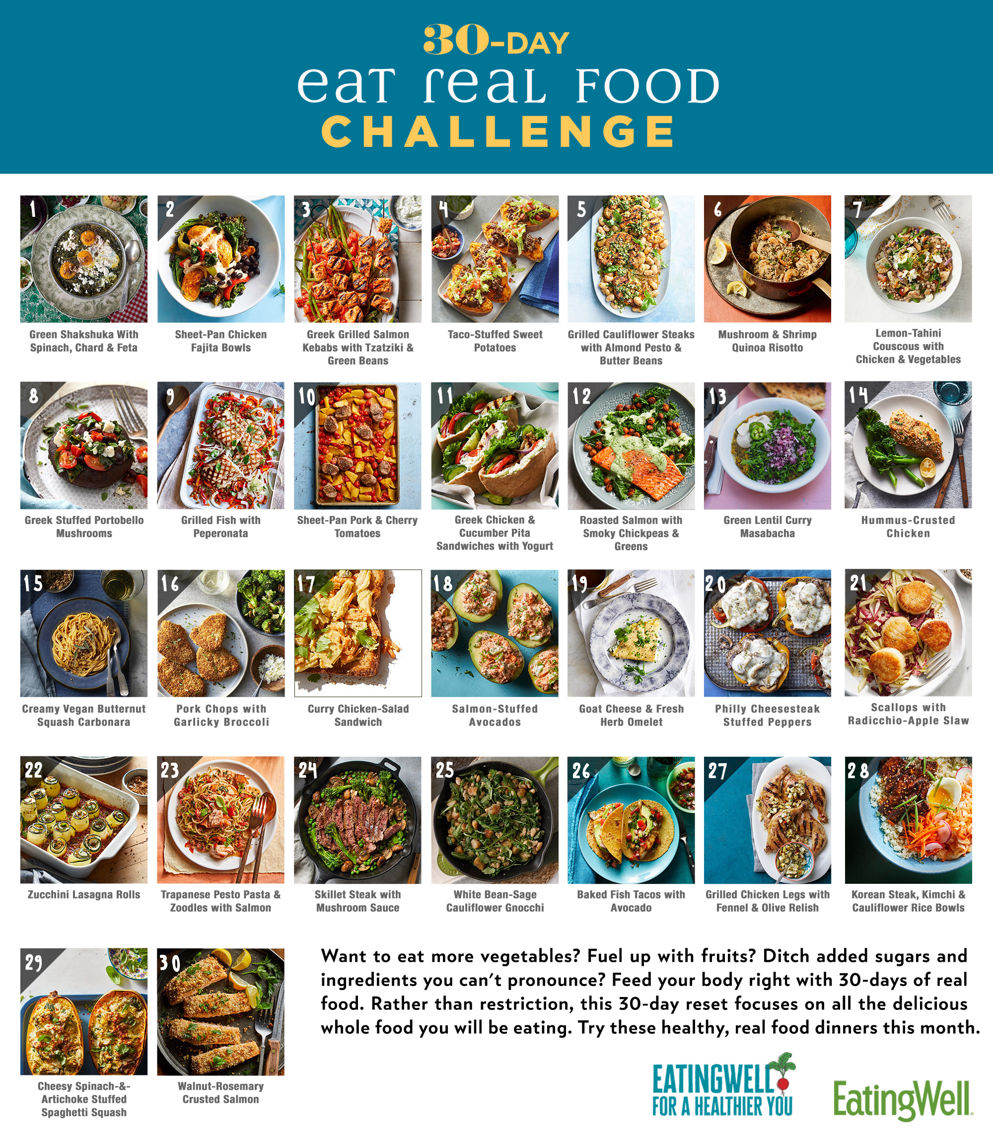 30 Day Eat Real Food Challenge Calendar