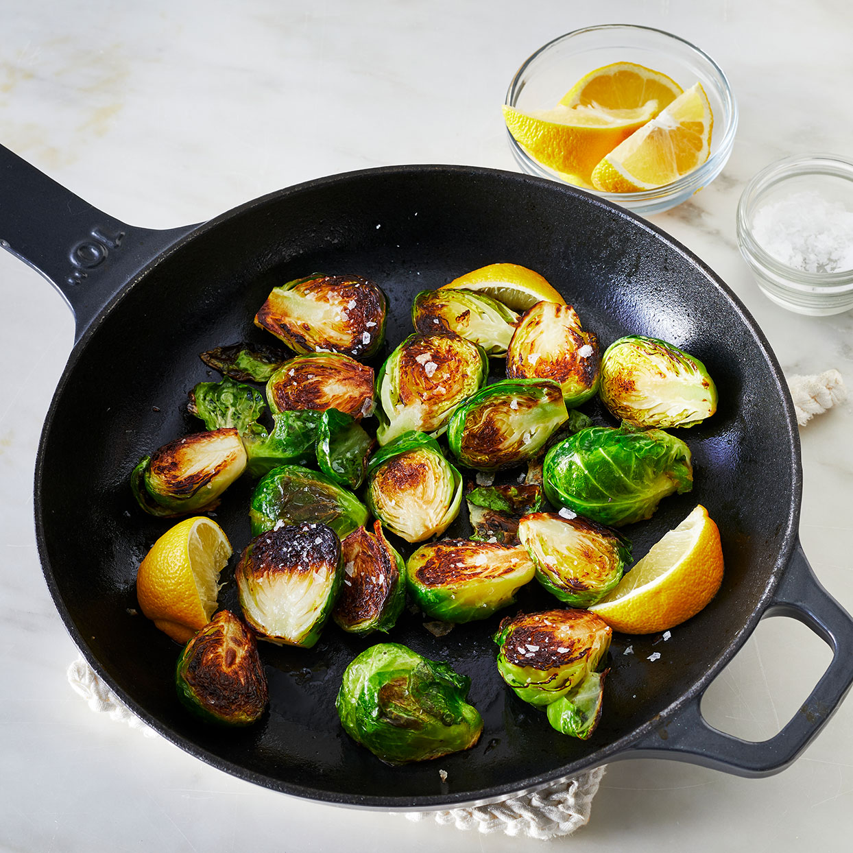 Sauteed Brussels-Sprouts-in-a-pan