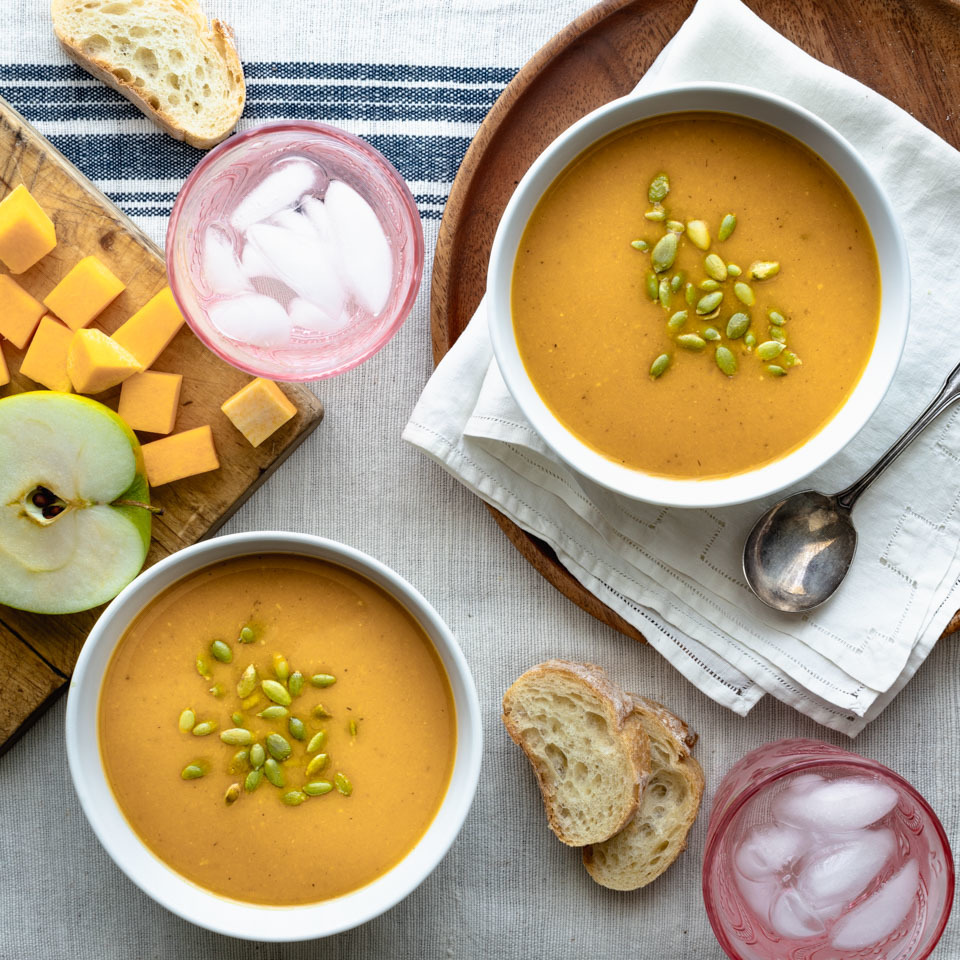 You'll never guess this crock pot butternut squash soup recipe is just dump-and-go simple. The boost of flavor from maple syrup, apple-cider vinegar and spices makes all the difference! Serve this light soup as an appetizer for a vegetarian Thanksgiving feast or with a salad and crusty bread for weeknight dinners.