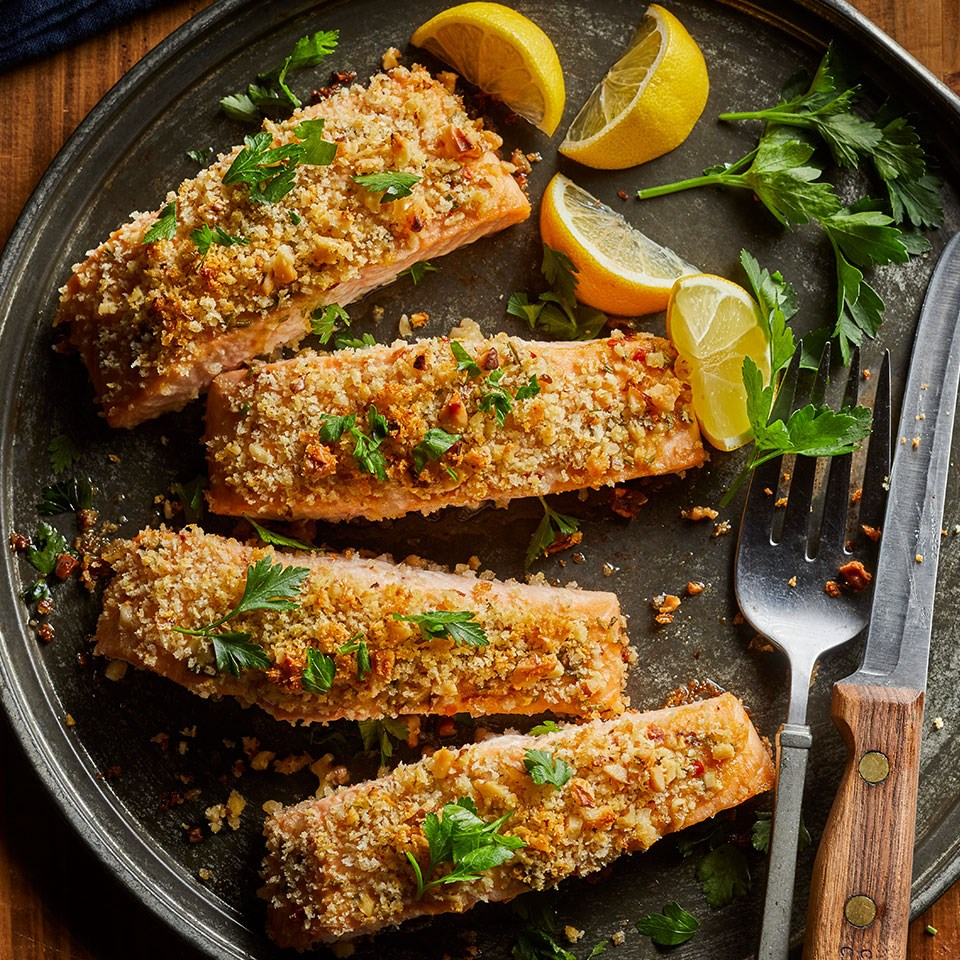 Walnut Rosemary Crusted Salmon