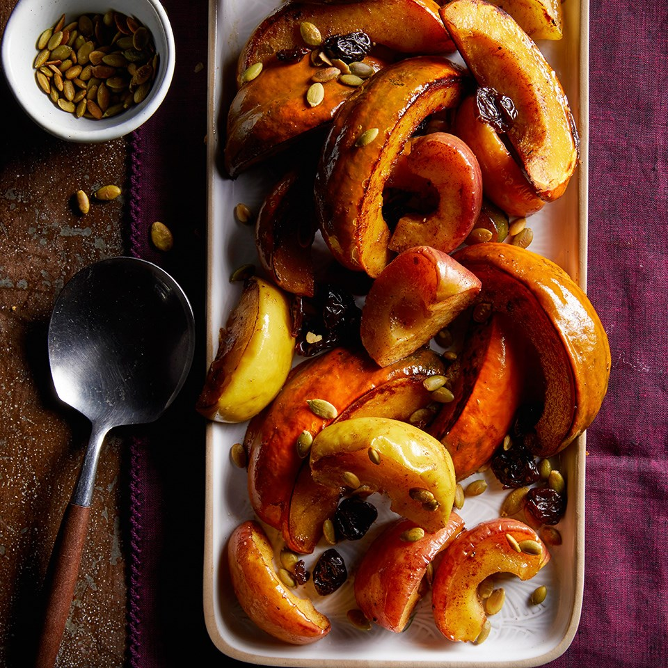 Roasted Squash & Apples with Dried Cherries & Pepitas