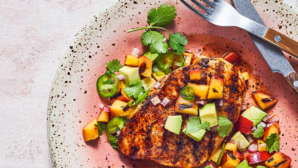 Grilled Ancho Chicken Breasts and Apricot Salsa